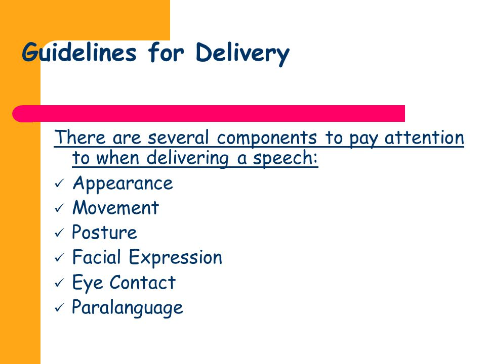 Guidelines for Delivery