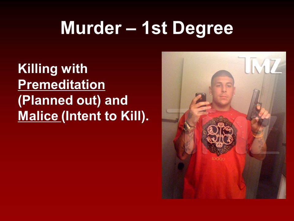 Murder – 1st Degree Killing with Premeditation (Planned out) and Malice (Intent to Kill).