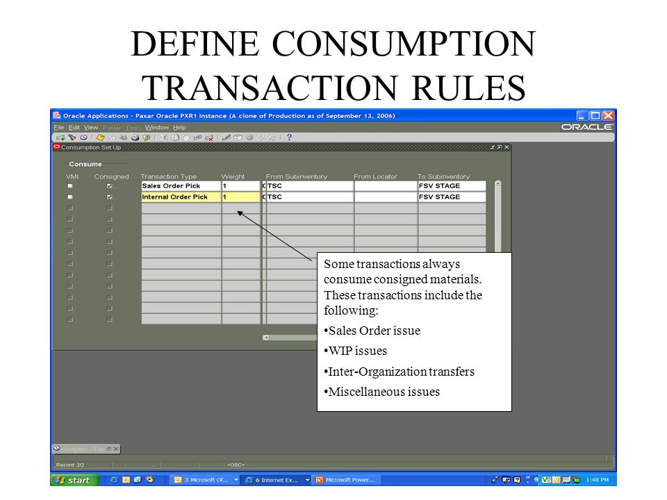 DEFINE CONSUMPTION TRANSACTION RULES