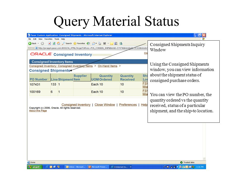 Query Material Status Consigned Shipments Inquiry Window