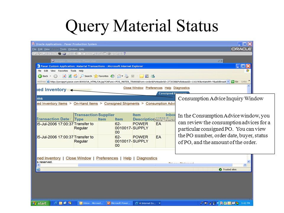 Query Material Status Consumption Advice Inquiry Window