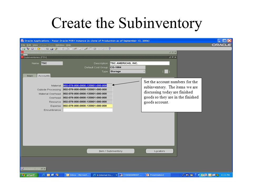 Create the Subinventory