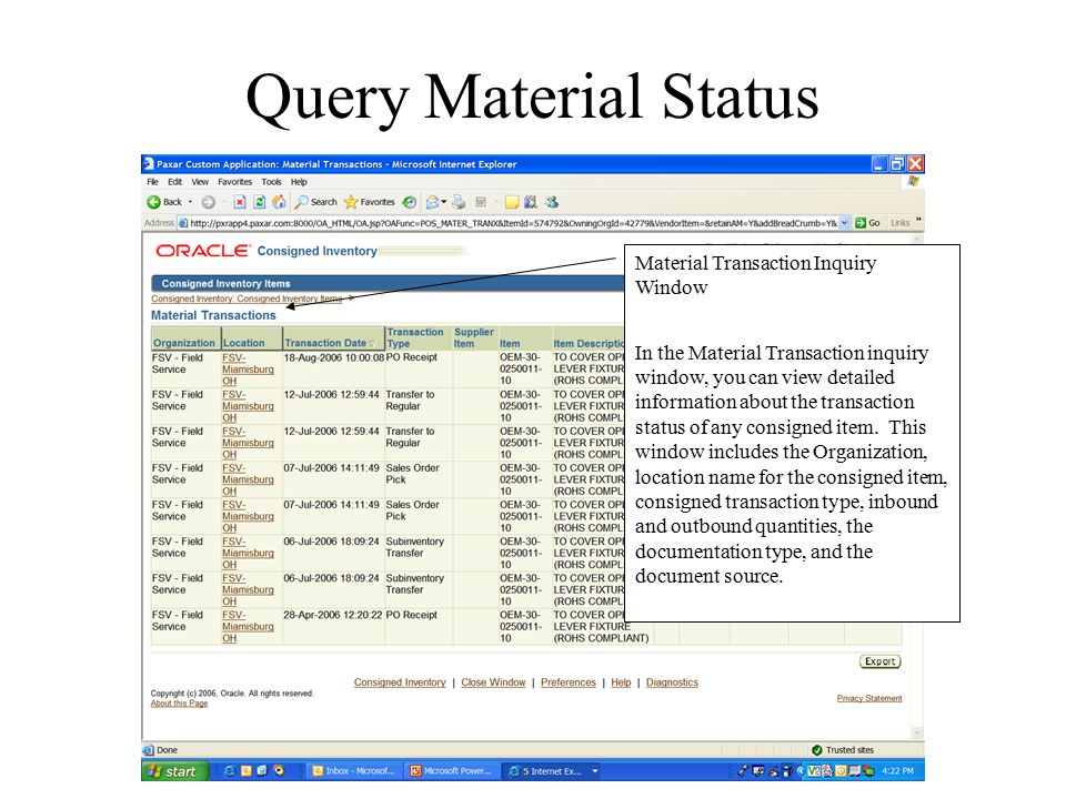 Query Material Status Material Transaction Inquiry Window