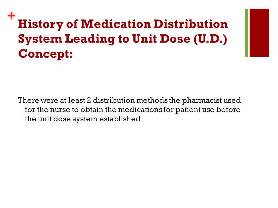 History of Medication Distribution System Leading to Unit Dose (U. D