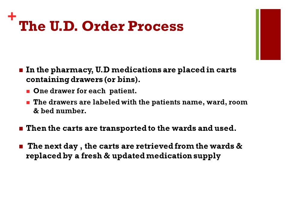 The U.D. Order Process In the pharmacy, U.D medications are placed in carts containing drawers (or bins).