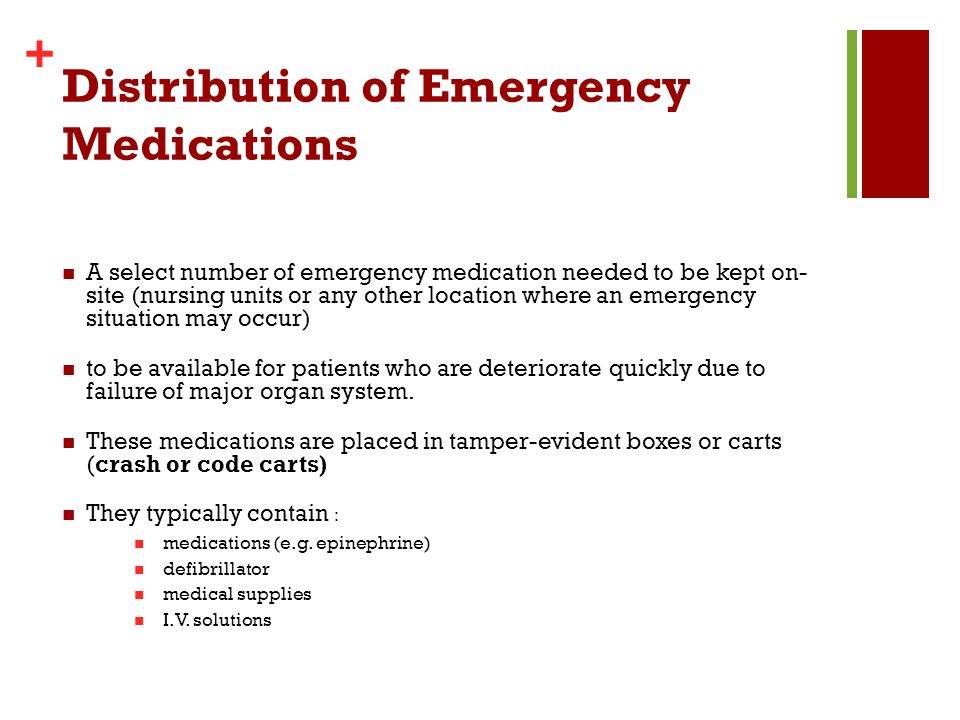 Distribution of Emergency Medications