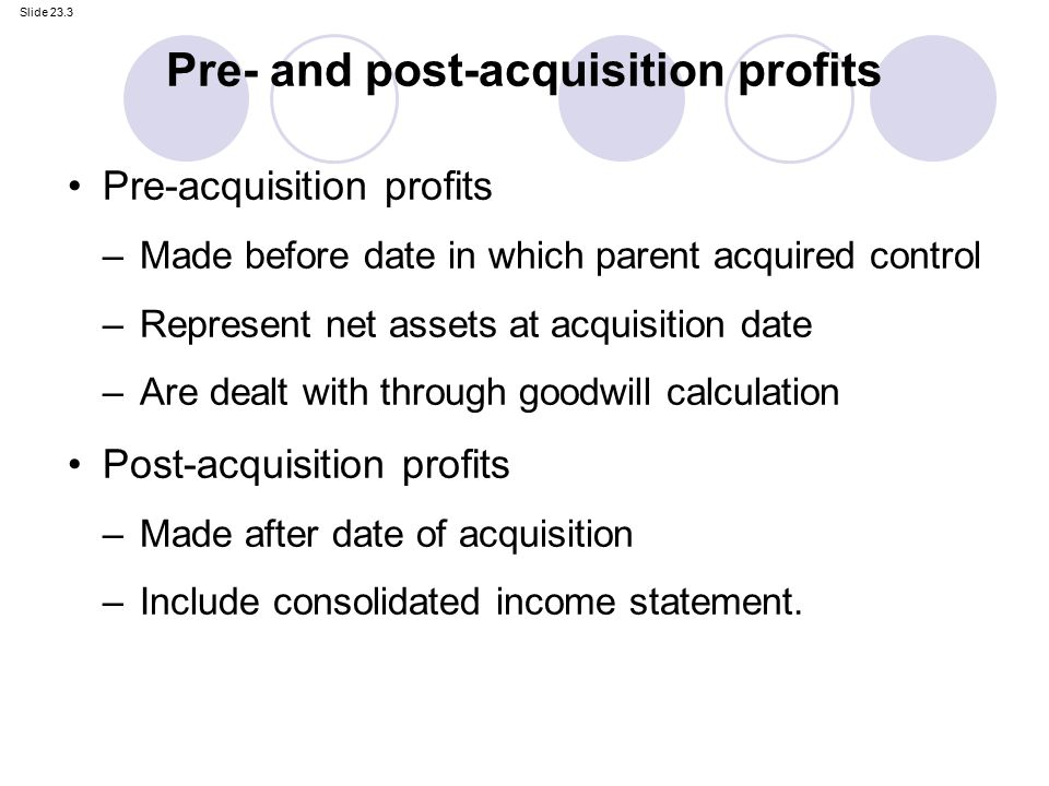 Pre acquisition retained earnings consolidating debt