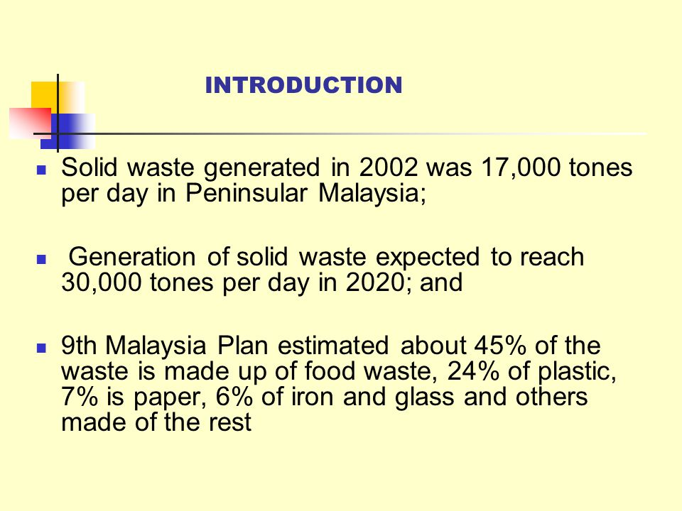 INTRODUCTION Solid waste generated in 2002 was 17,000 tones per day in Peninsular Malaysia;