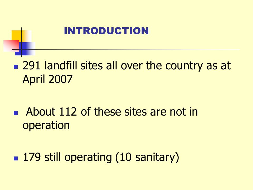 291 landfill sites all over the country as at April 2007