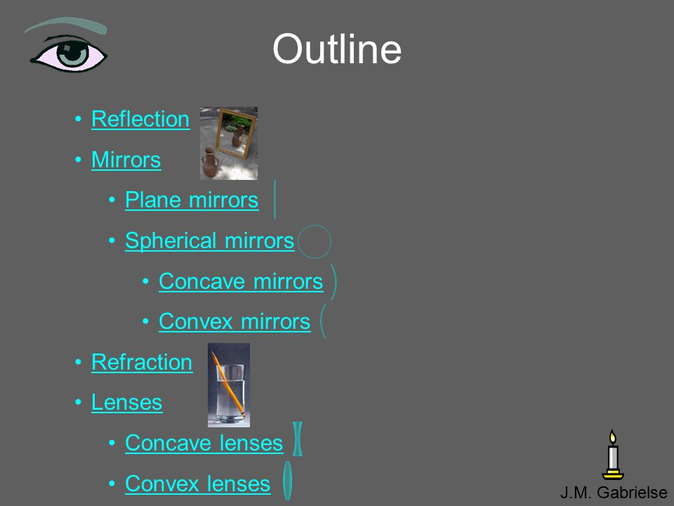 Outline Reflection Mirrors Plane mirrors Spherical mirrors