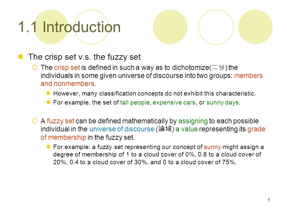Definition of fuzzy set with example.