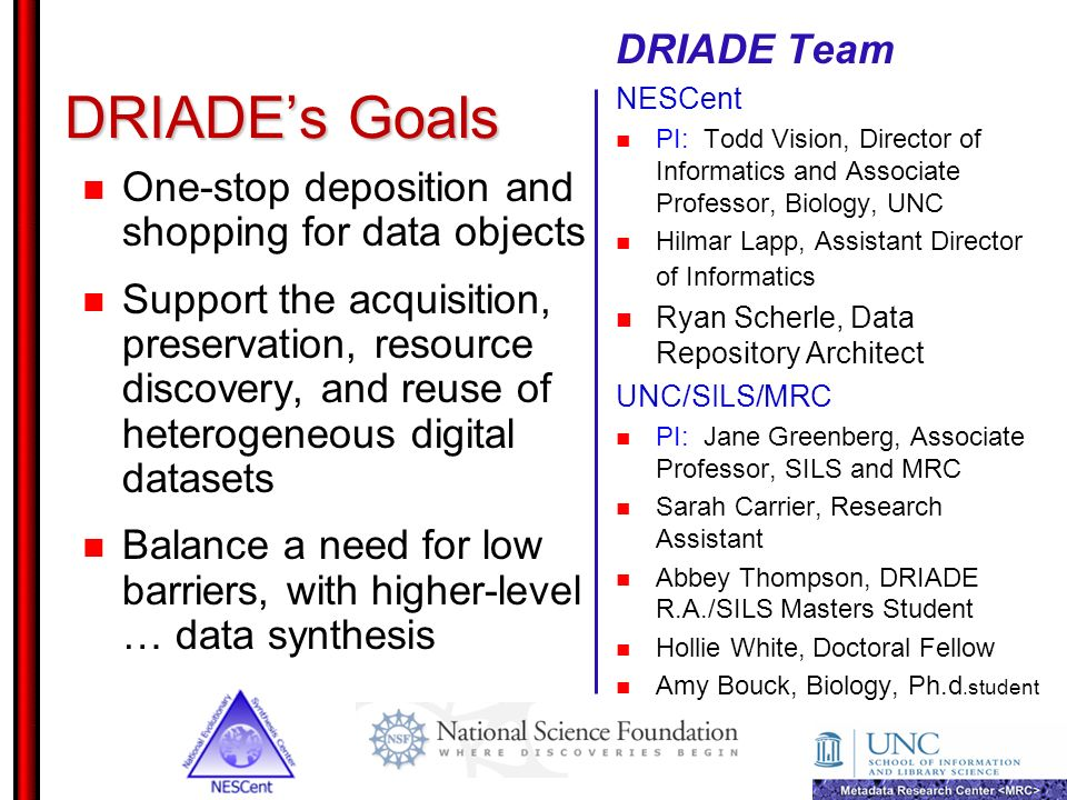 DRIADE's Goals DRIADE Team