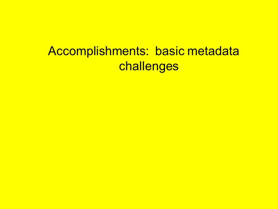 Accomplishments: basic metadata challenges
