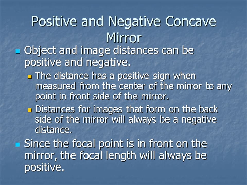 Positive and Negative Concave Mirror