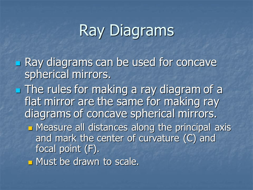 Ray Diagrams Ray diagrams can be used for concave spherical mirrors.