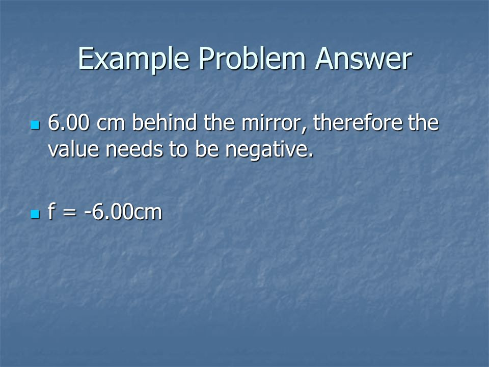 Example Problem Answer