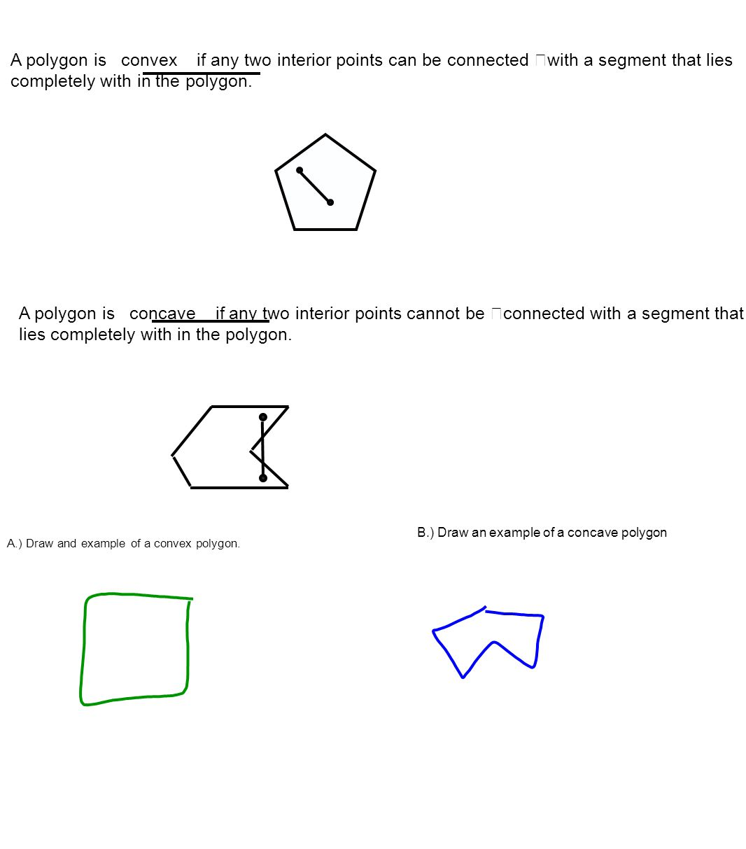 A polygon is convex if any two interior points can be connected with a segment that lies completely with in the polygon.