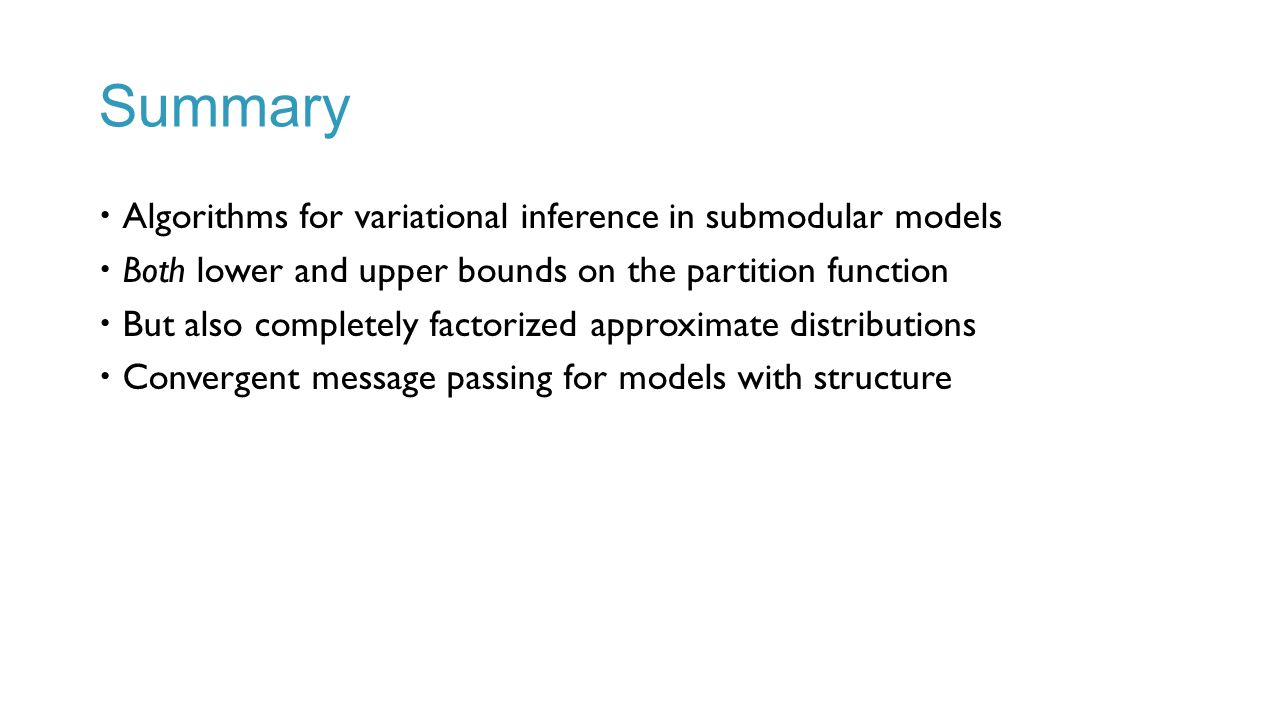 Summary Algorithms for variational inference in submodular models