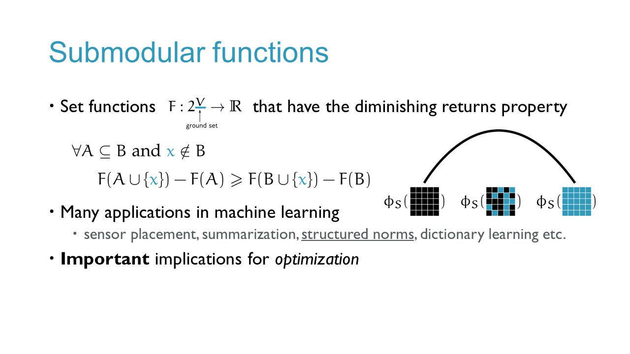 Submodular functions Set functions that have the diminishing returns property. Many applications in machine learning.