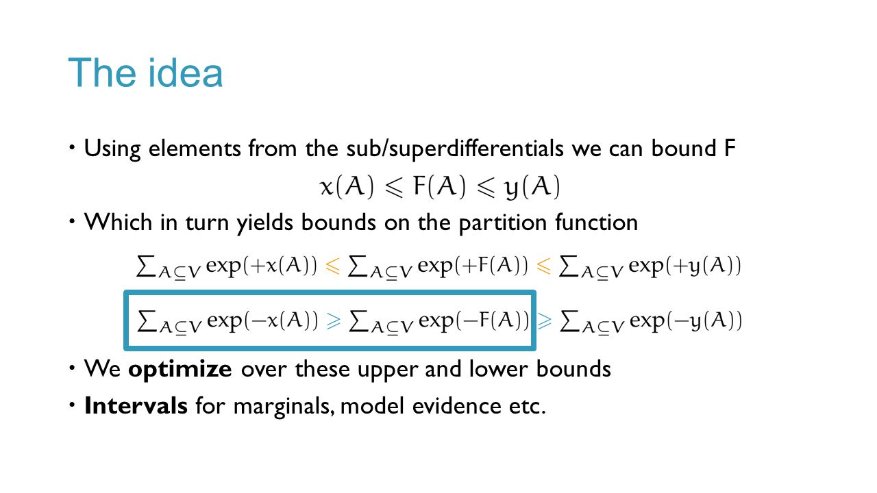 The idea Using elements from the sub/superdifferentials we can bound F