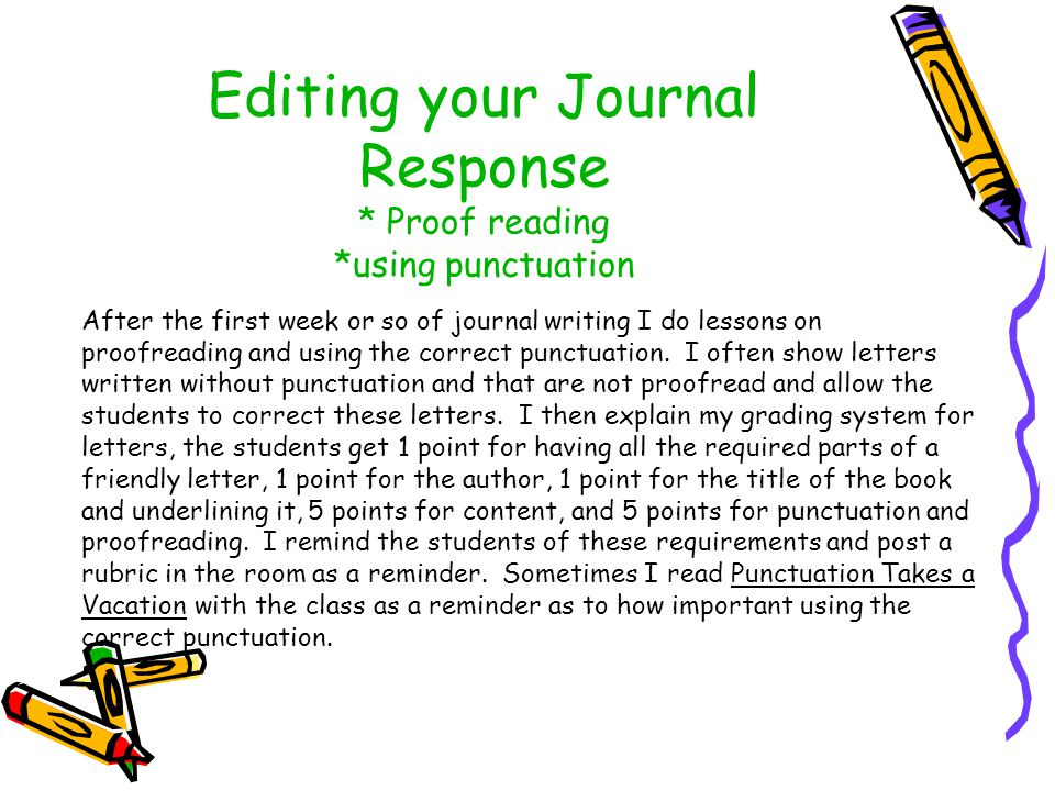 Editing your Journal Response * Proof reading *using punctuation