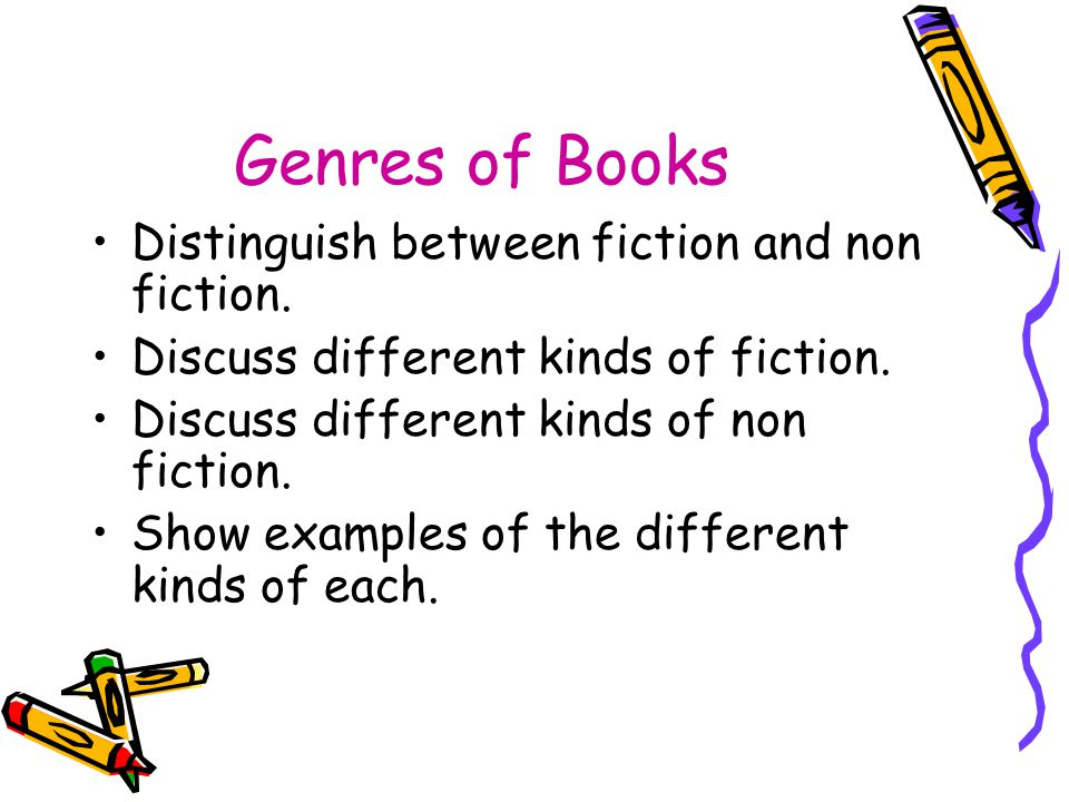 Genres of Books Distinguish between fiction and non fiction.