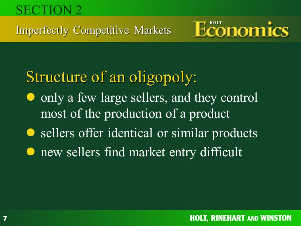 Structure of an oligopoly: