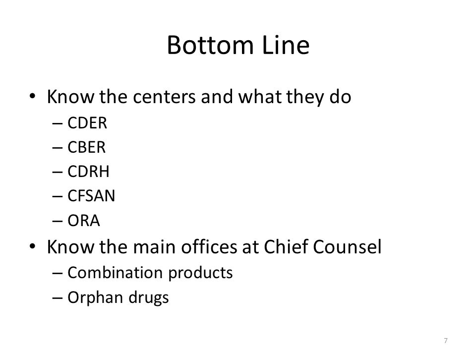 Bottom Line Know the centers and what they do