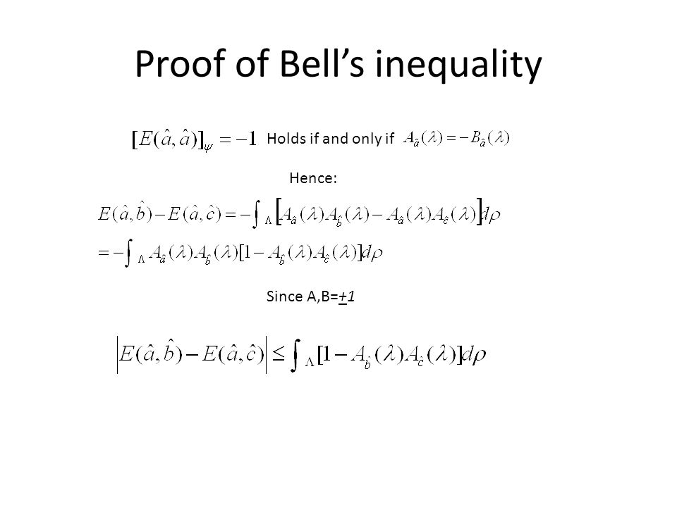 Proof of Bell's inequality