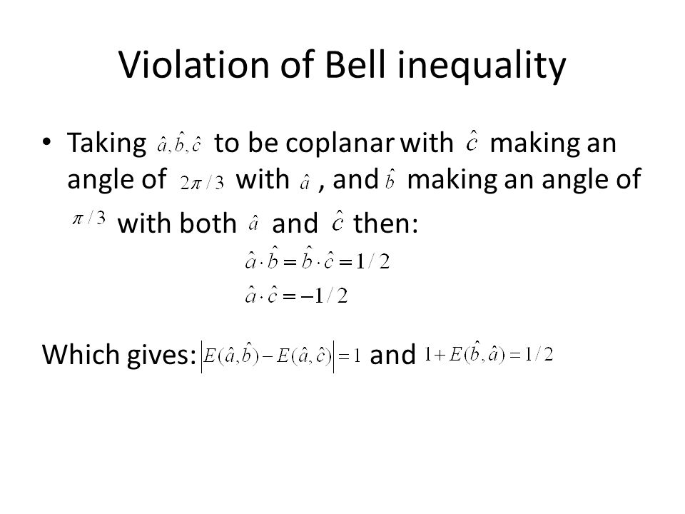Violation of Bell inequality