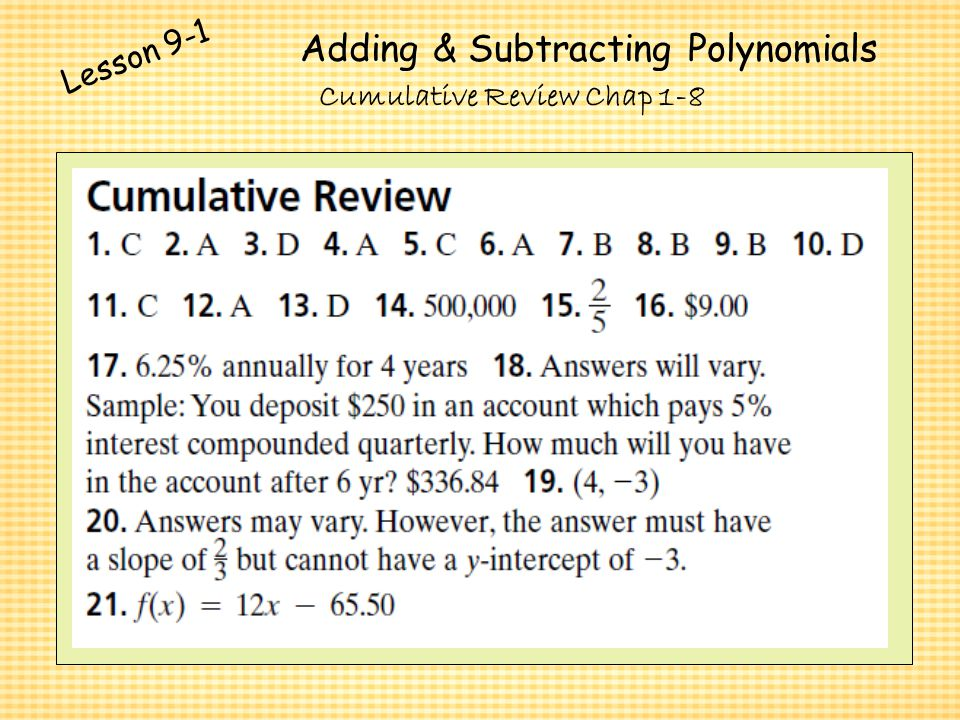 Polynomials And Factoring Ppt Video Online Download. Adding Subtracting Polynomials. Worksheet. Adding And Subtracting Polynomials Coloring Worksheet Answer Key At Mspartners.co