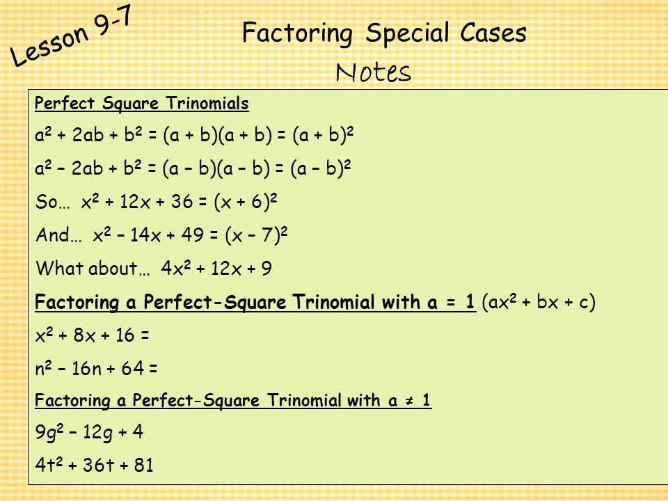 Polynomials And Factoring Ppt Video Online Download. Factoring Special Cases. Worksheet. Factoring Trinomials Worksheet Special Cases At Clickcart.co