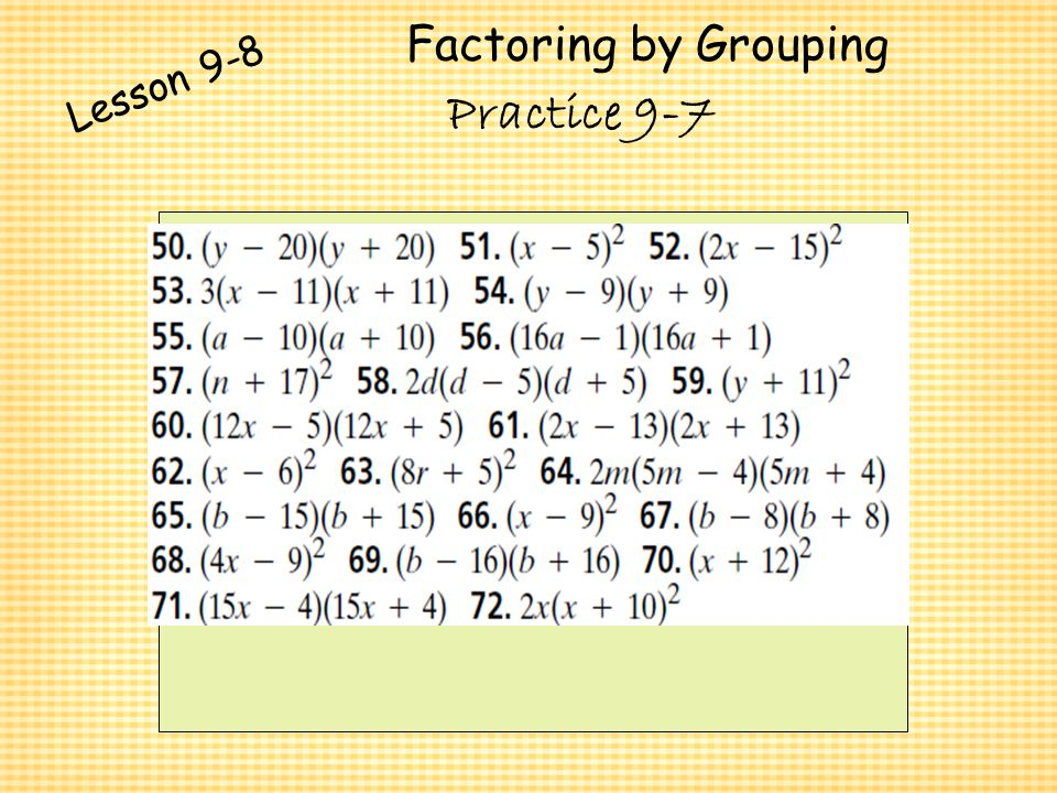Polynomials And Factoring Ppt Video Online Download. 41 Factoring By Grouping Lesson 98 Practice 97. Worksheet. Factoring Trinomials Worksheet Special Cases At Clickcart.co