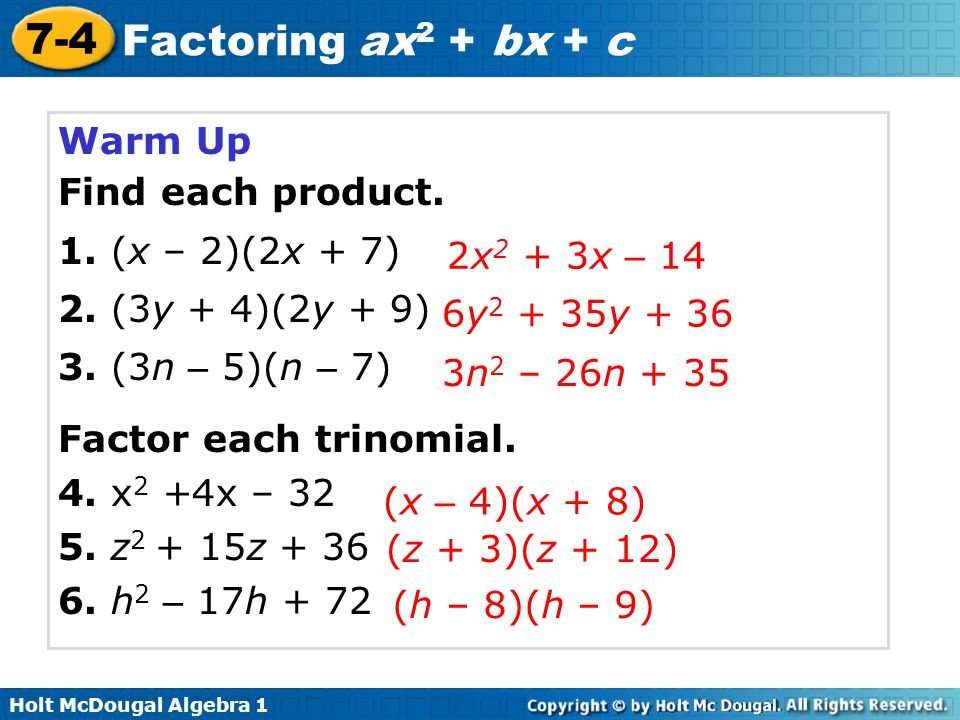 74 Factoring Ax2 Bx C Warm Up Lesson Presentation Quiz. Worksheet. Factoring Trinomials Of The Form Ax2 Bx C Worksheet Answers At Mspartners.co