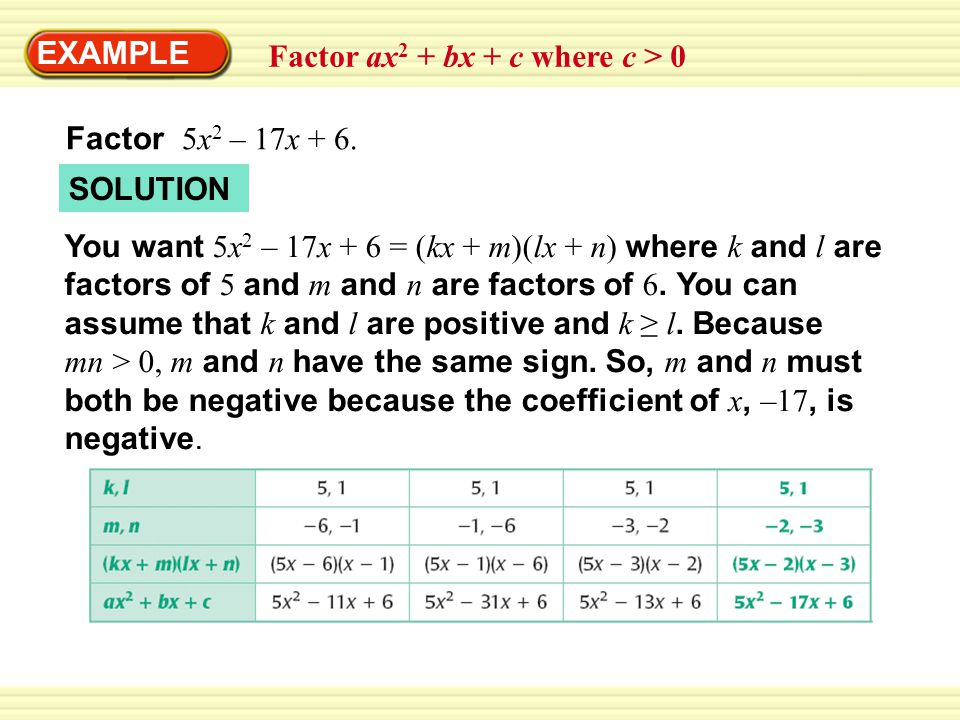 EXAMPLE Factor ax2 + bx + c where c > 0. Factor 5x2 – 17x + 6. SOLUTION.