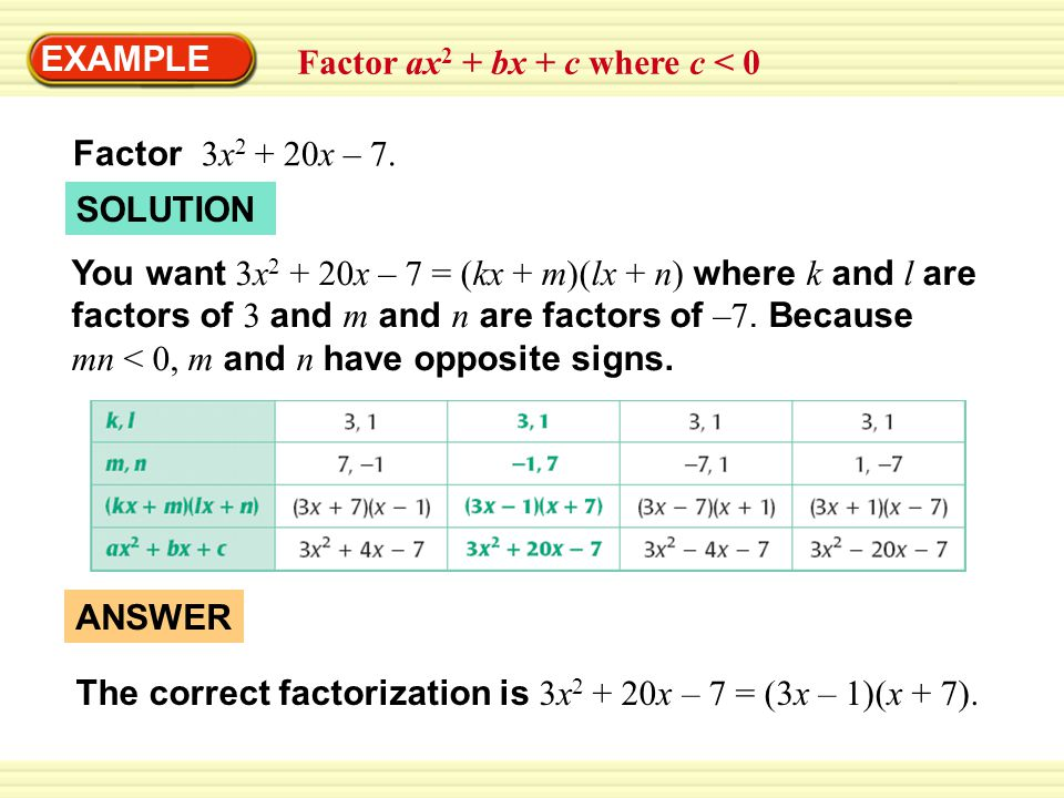 EXAMPLE Factor ax2 + bx + c where c < 0. Factor 3x2 + 20x – 7. SOLUTION.