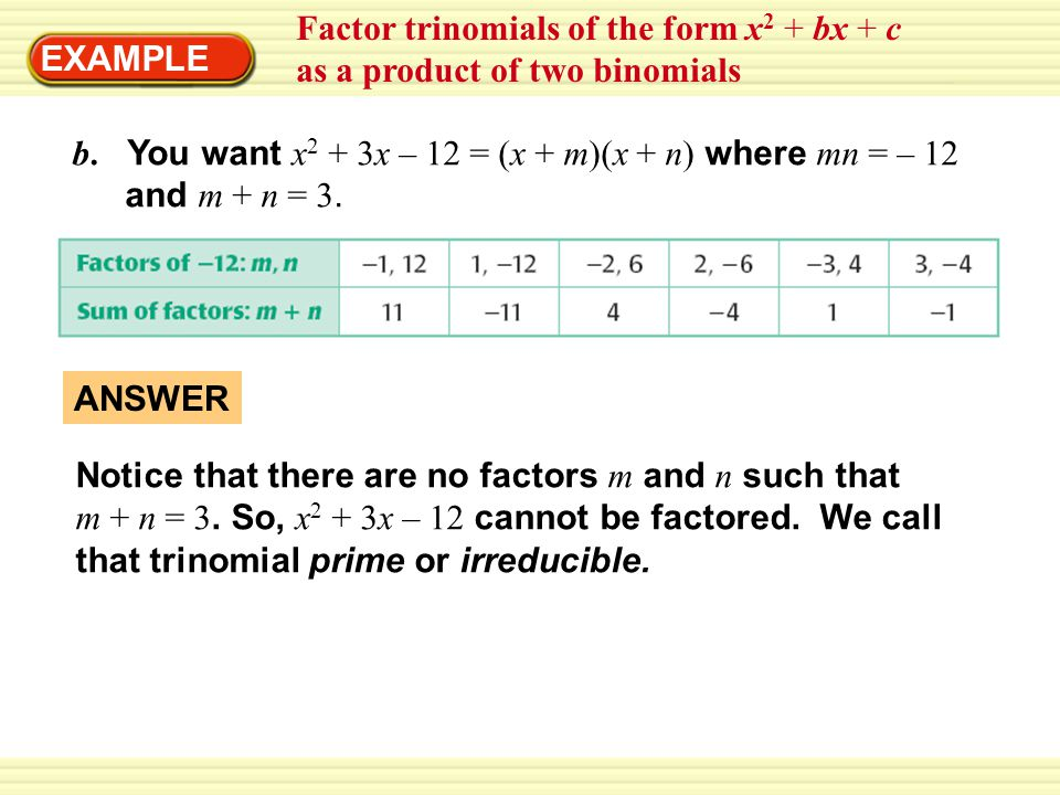 Factor trinomials of the form x2 + bx + c