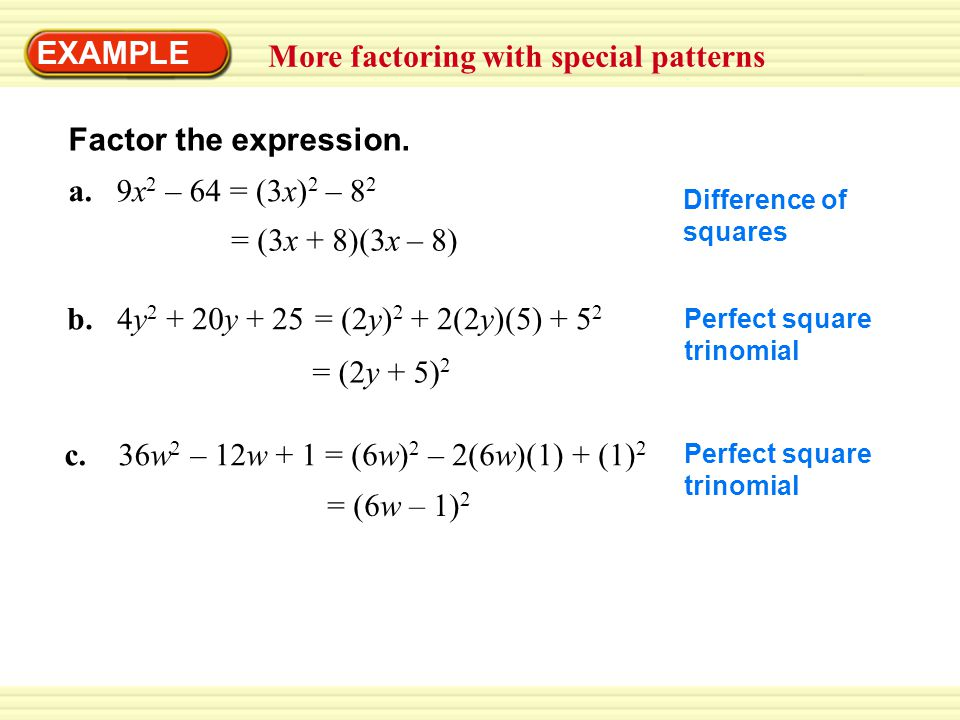 More factoring with special patterns