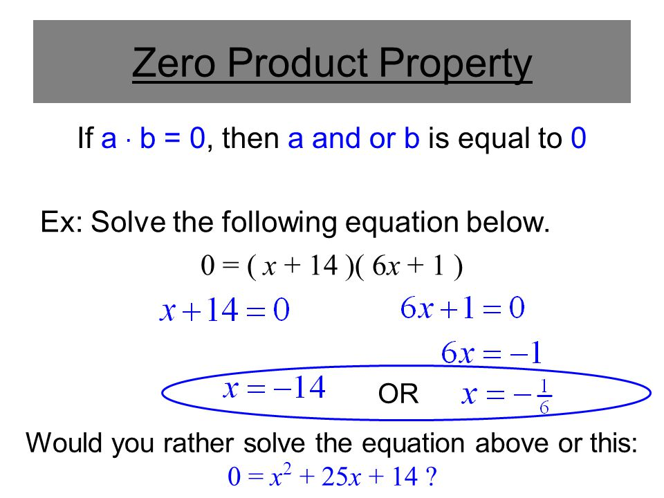 Using The Zeroproduct Property To Solve A Quadratic Ppt Download. 3 Zero Product Property. Worksheet. Solving Quadratics Using Zero Product Property Worksheet At Clickcart.co