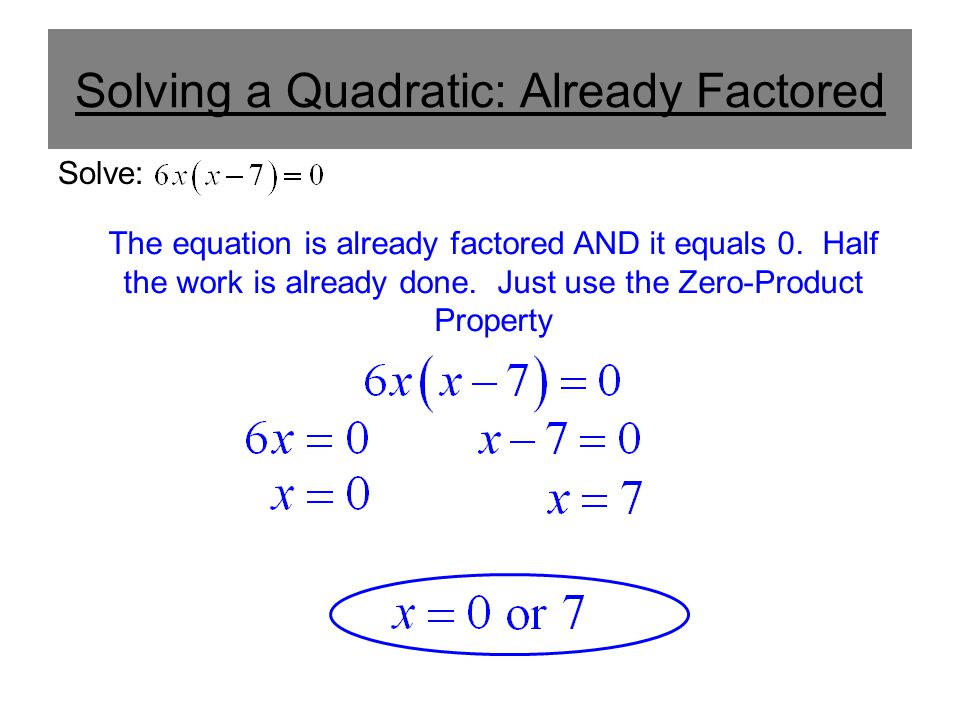 Using The Zeroproduct Property To Solve A Quadratic Ppt Download. Worksheet. Solving Quadratics Using Zero Product Property Worksheet At Clickcart.co