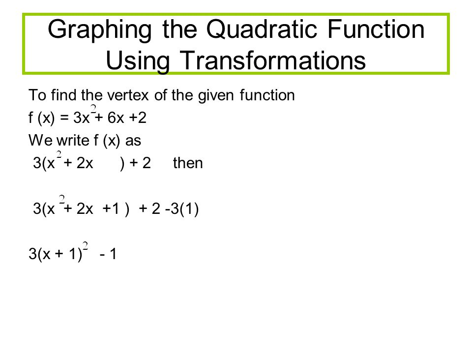 Graphing the Quadratic Function Using Transformations