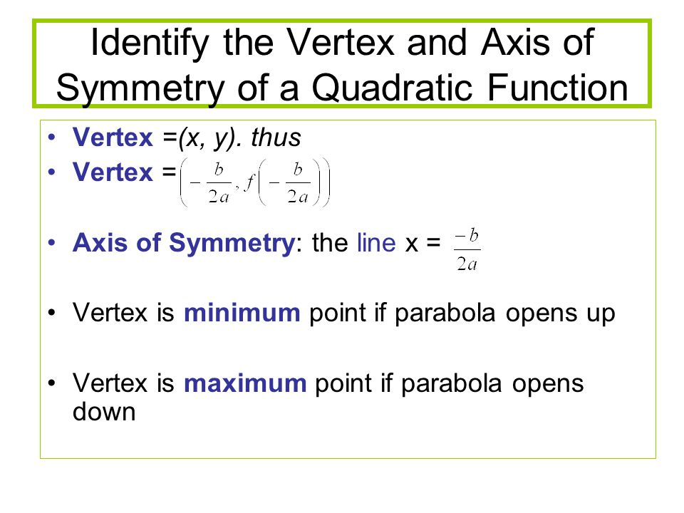 Identify the Vertex and Axis of Symmetry of a Quadratic Function