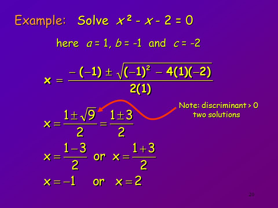 Example: Solve x 2 - x - 2 = 0 here a = 1, b = -1 and c = -2