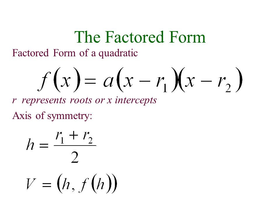 The Factored Form Factored Form of a quadratic