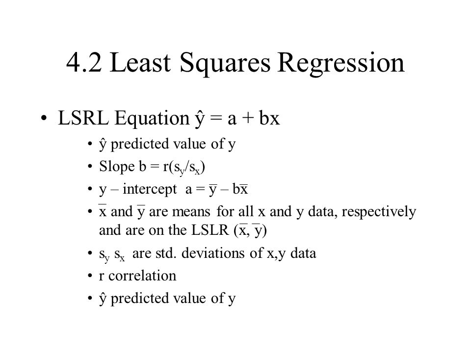 4.2 Least Squares Regression