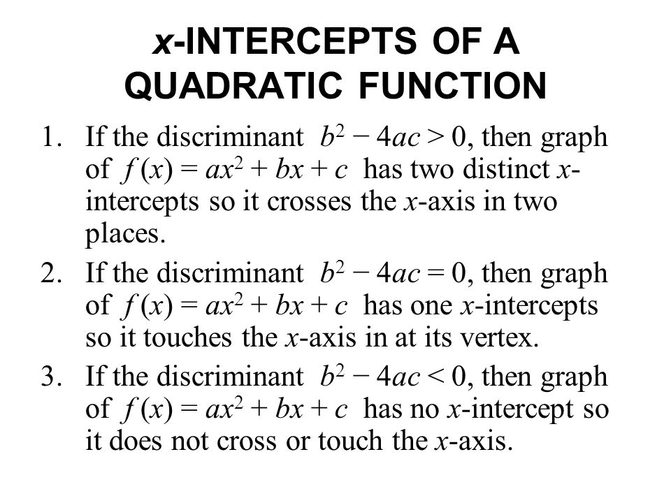 x-INTERCEPTS OF A QUADRATIC FUNCTION