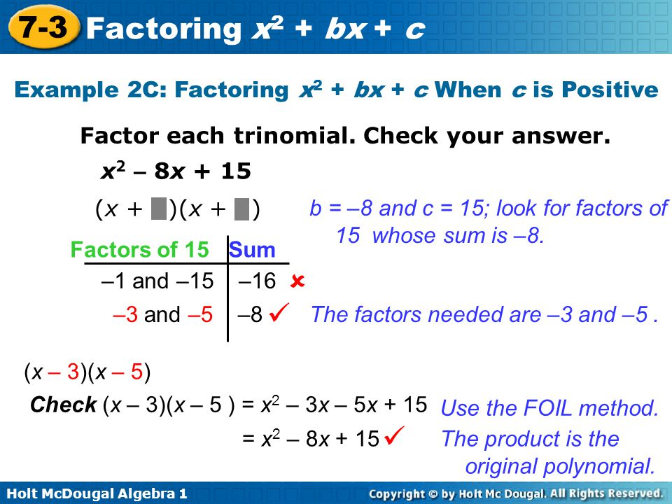 Example 2c Factoring X2 Bx C When Is Positive
