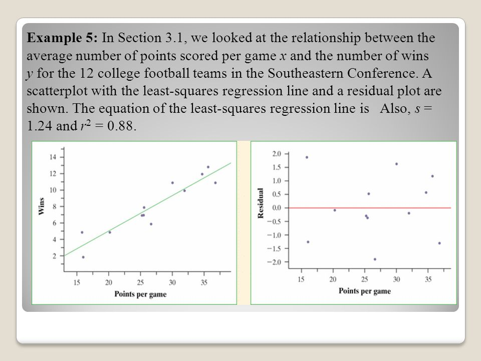 Example 5: In Section 3.1, we looked at the relationship between the average number of points scored per game x and the number of wins y for the 12 college football teams in the Southeastern Conference. A scatterplot with the least-squares regression line and a residual plot are shown. The equation of the least-squares regression line is Also, s = 1.24 and r2 = 0.88.