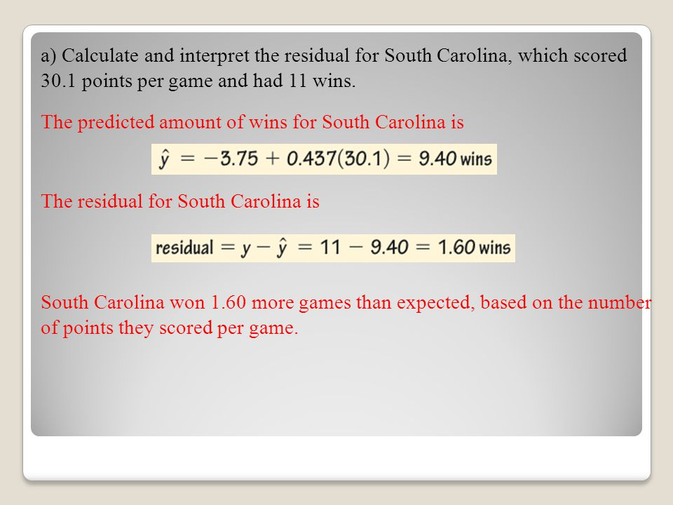 a) Calculate and interpret the residual for South Carolina, which scored 30.1 points per game and had 11 wins.