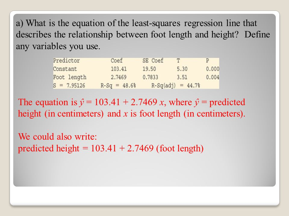 a) What is the equation of the least-squares regression line that describes the relationship between foot length and height Define any variables you use.